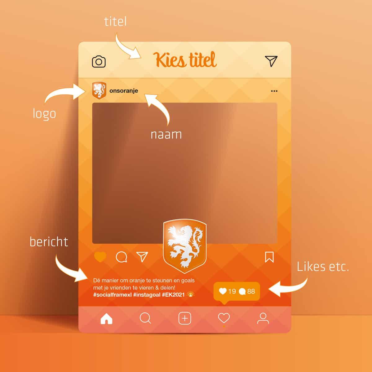 Oranje EK2021 frame maken